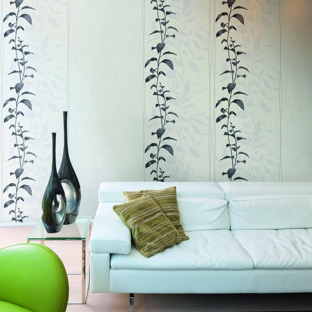 papel pintado floral con rayas