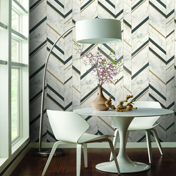 Utilizar papel pintado como decoración marmol